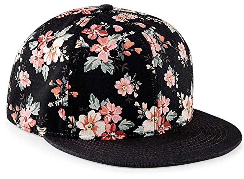 Snapback Damen Frauen Floral Blumen Snapback Cap Mütze Hut pink rosa ...