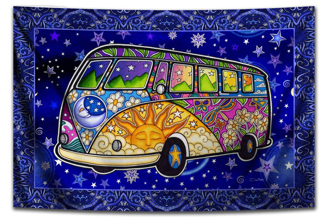 Hippie Peace Bus Road Trip Tapestry by Dan Morris, 48×72