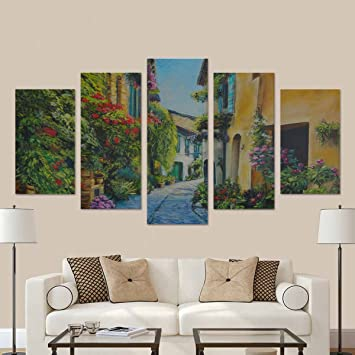 wall street office decor. InterestPrint Painting Flower Street In Italy Artwork Wall Decor For Living Room Office Decoration Canvas