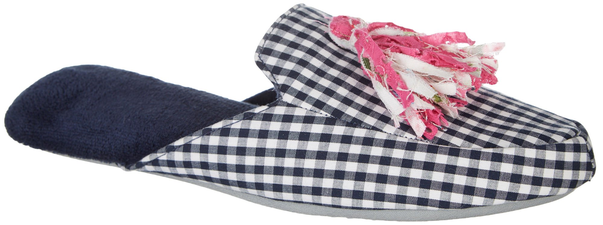 Dearfoams Womens Gingham Tassel Scuff Slippers Large Peacoat Blue/White