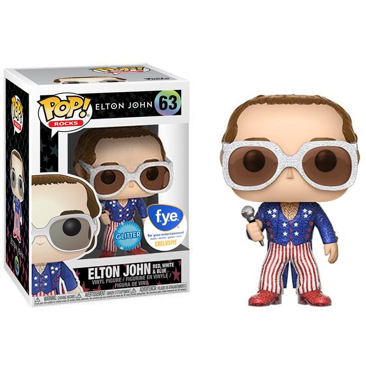 Funko Elton John Rocks Vinyl Figure /& 1 POP Glitter : x POP Red #063 // 25955 - B f.y.e. Exclusive BCC9U6871 Compatible PET Plastic Graphical Protector Bundle White /& Blue