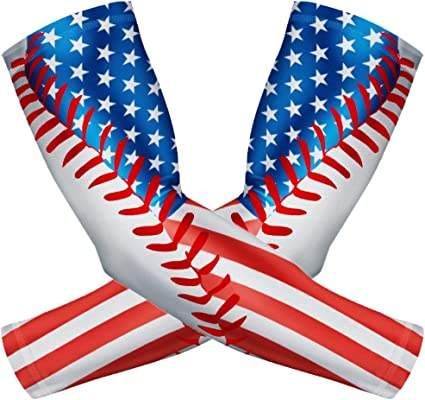 1 Pair American Flag Compression Arm Sleeves Outdoor Sports UV Protection Arm Sleeves