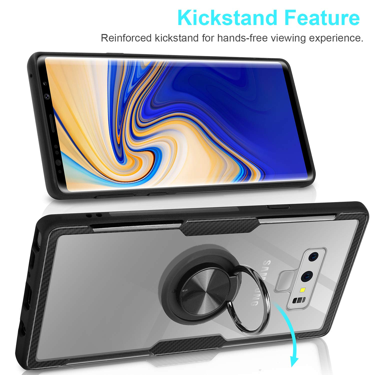 for Galaxy S10E,Black Magnetic Car Mount Feature Galaxy S10E Case,WATACHE Clear Crystal Carbon Fiber Design Armor Protective Case with 360 Degree Rotating Finger Ring Grip Holde Stand