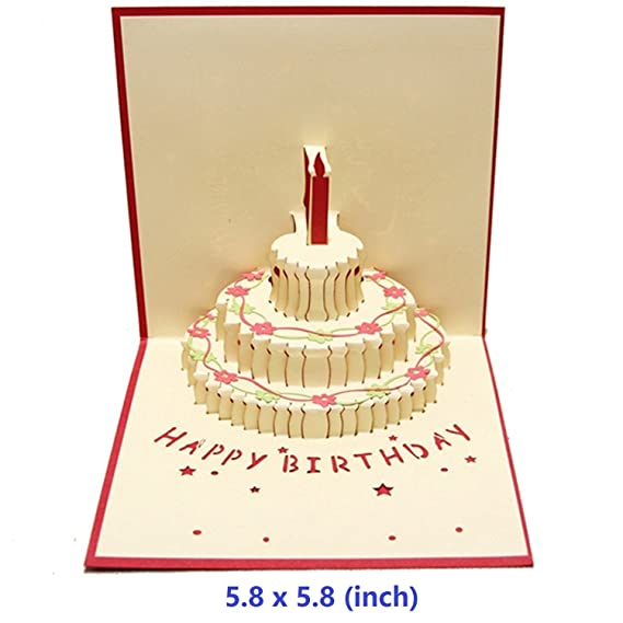 Amazon Nacodex Birthday Cake Pop Up Card 3d Card Greeting