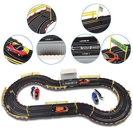deAO Top Turbo Pista de Carreras Set 1:34 Coches Slot - Circuito Dos Velocidades