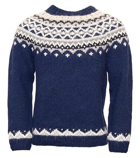 Icewear Skjoldur Mens Sweater Hand Knitted Design 100 Icelandic