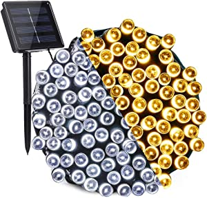 Solar String Lights Outdoor, 72ft 200 LED 2 in 1 Color Changing Solar Garden Lights with 11 Lighting Modes, Waterproof Solar Fairy Lights for Garden, Gazebo, Yard, Patio Decor (Warm White & White)
