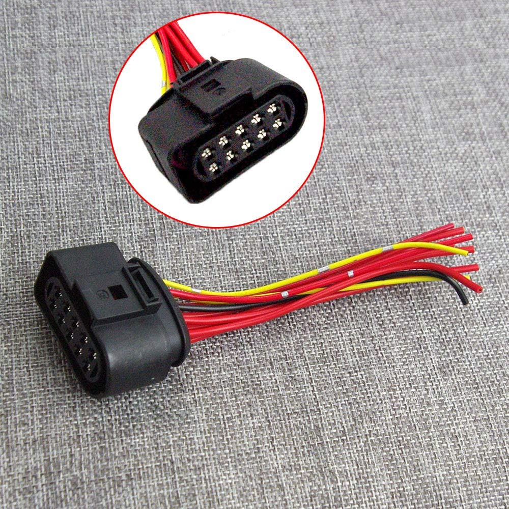 1 Headlight Wiring Pigtail Connector Plug 10pin 1J0973735 Fit For AUDI A6