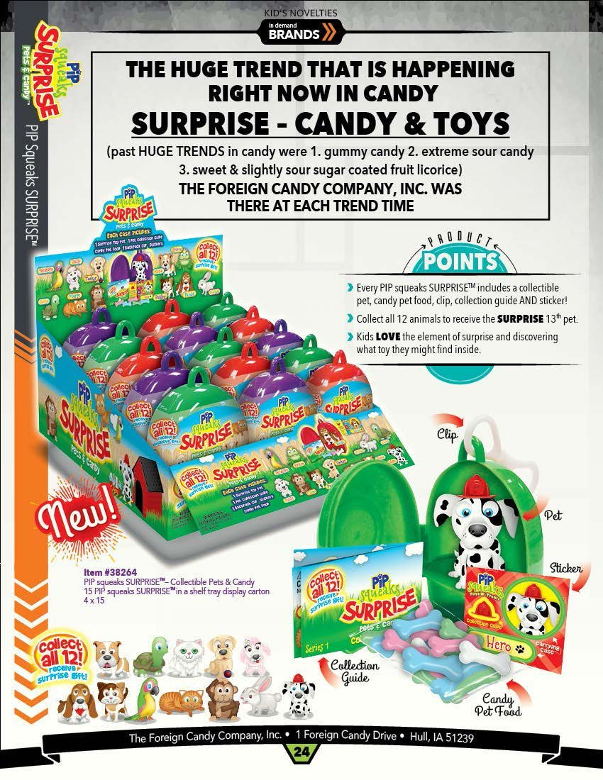 Amazon.com : Pip Squeaks SURPRISE .4 oz. - Collectible Pets & Candy, Display of 15 : Grocery & Gourmet Food