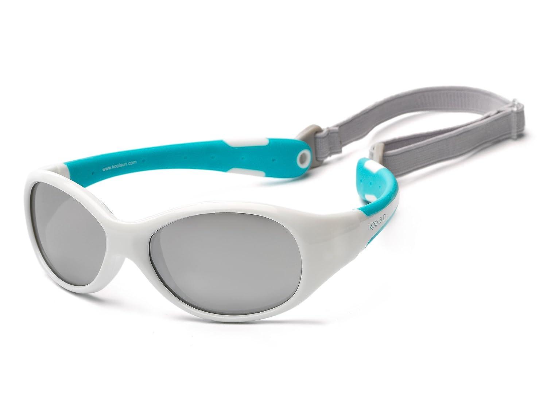Koolsun Gafas de sol para bebé (0 – 3 AñOS | VERS piegelt | koolsun Flex White Aqua |100% protección UV | con desmontable Diadema | Optical Clas 1, cat. 3 | flexible