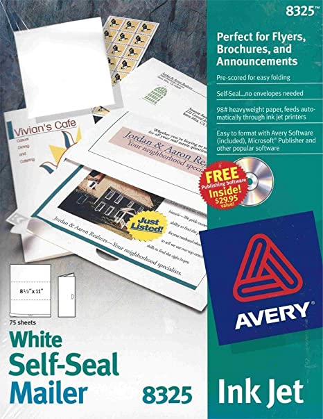 amazon com avery 8325 white self seal mailer paper stationery