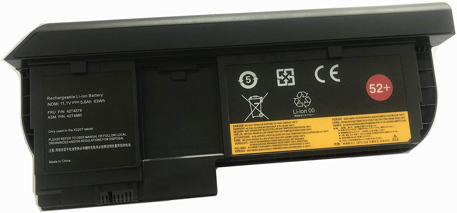 Aluo X220T 11.1V5600mAh/63wh New Laptop Battery for Lenovo ThinkPad X220 Tablet X220iT Tablet Serie 42T4881 42T4882 42T4877 42T4879 42T4880 42T4879 52 Only Use in The x220 Tablet Notebook 52+