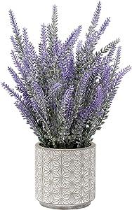 Artificial Lavender Decor Fake Lavender Plant in Pattern Cement Pot for Home Garden Wedding Decorations - Artificial Plants and Flowers - Purple Decor