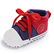 Baby Girls Boys Canvas Shoes Soft Sole Toddler First Walker Infant High-Top Ankle Sneakers Newborn Crib Shoes (S: 4.25 inch(0-6 Months), C-Red)