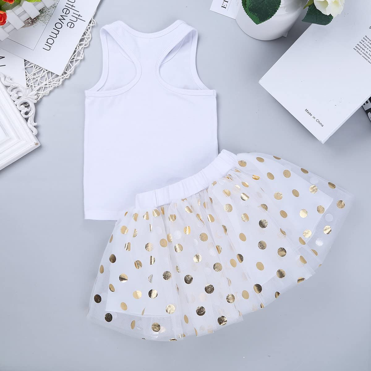 Freebily Infant Baby Girls Fancy First//1st Birthday Outfit Princess Racer-Back T-Shirt Tops with Polka Dots Tutu Skirt