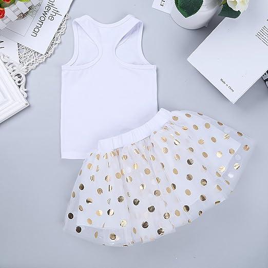 Conjunto de camiseta con falda de tut/ú de lunares brillantes Inlzdz