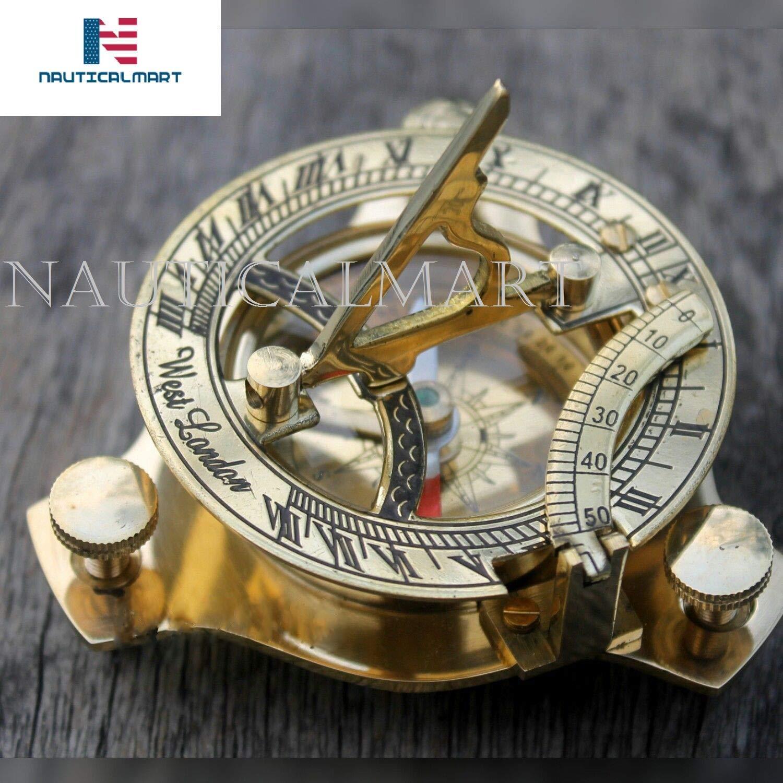 Marine shiny brass Sundial Compass Nautical 3.5