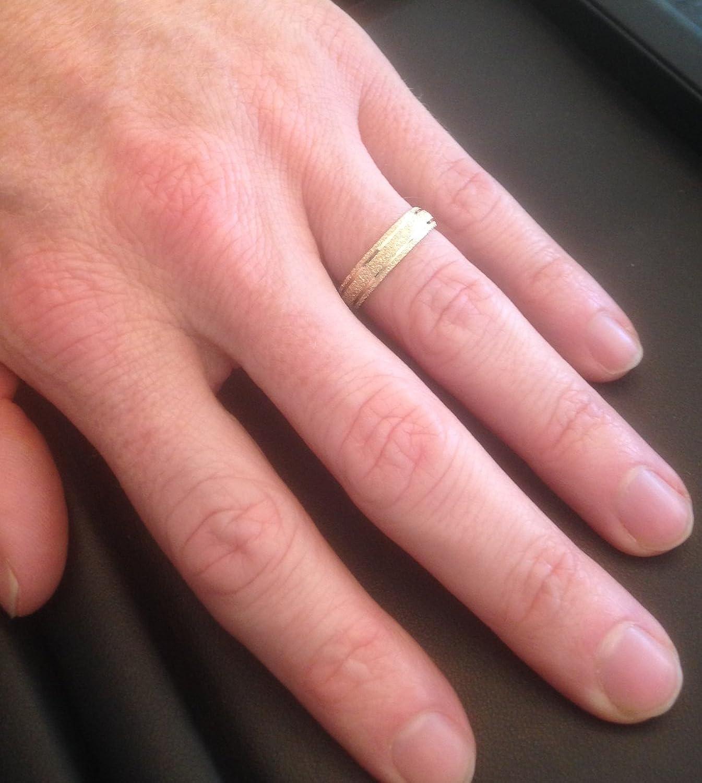 5mm Brushed Wedding Band 10K Yellow Gold | Amazon.com