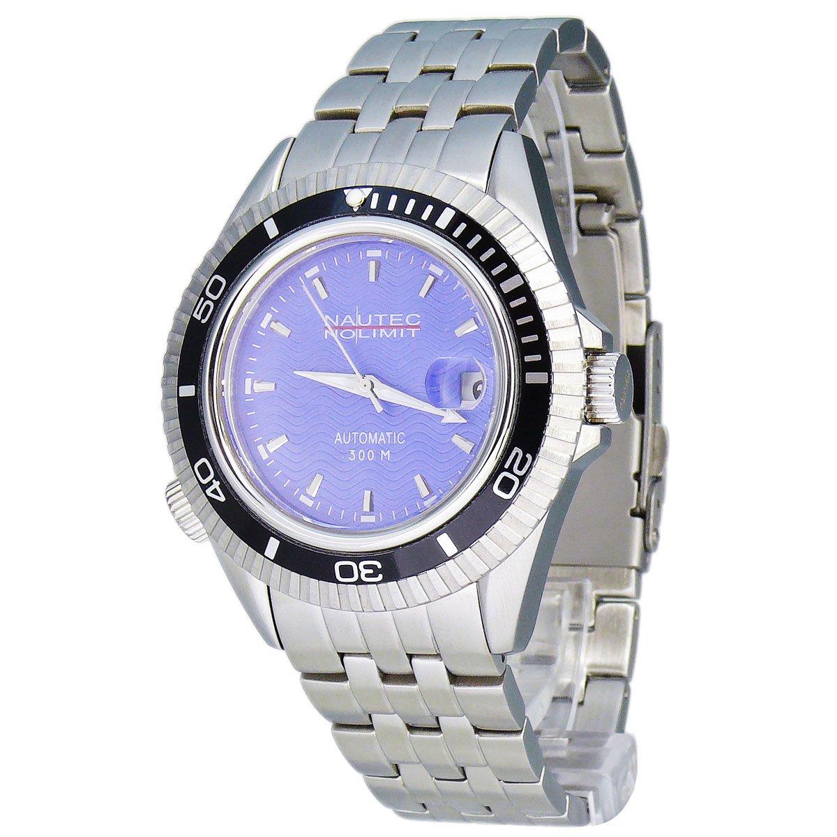 Nautec No Limit Shore SH1 AT/STSTBKBL - Reloj analógico automático para Hombre, Correa de Acero Inoxidable Color Plateado
