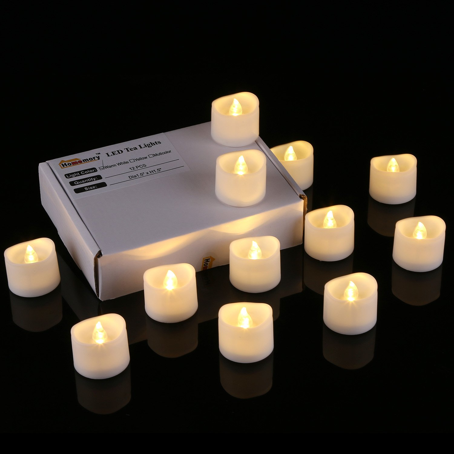 galleon homemory realistic and bright flickering bulb battery operated flameless led tea light. Black Bedroom Furniture Sets. Home Design Ideas