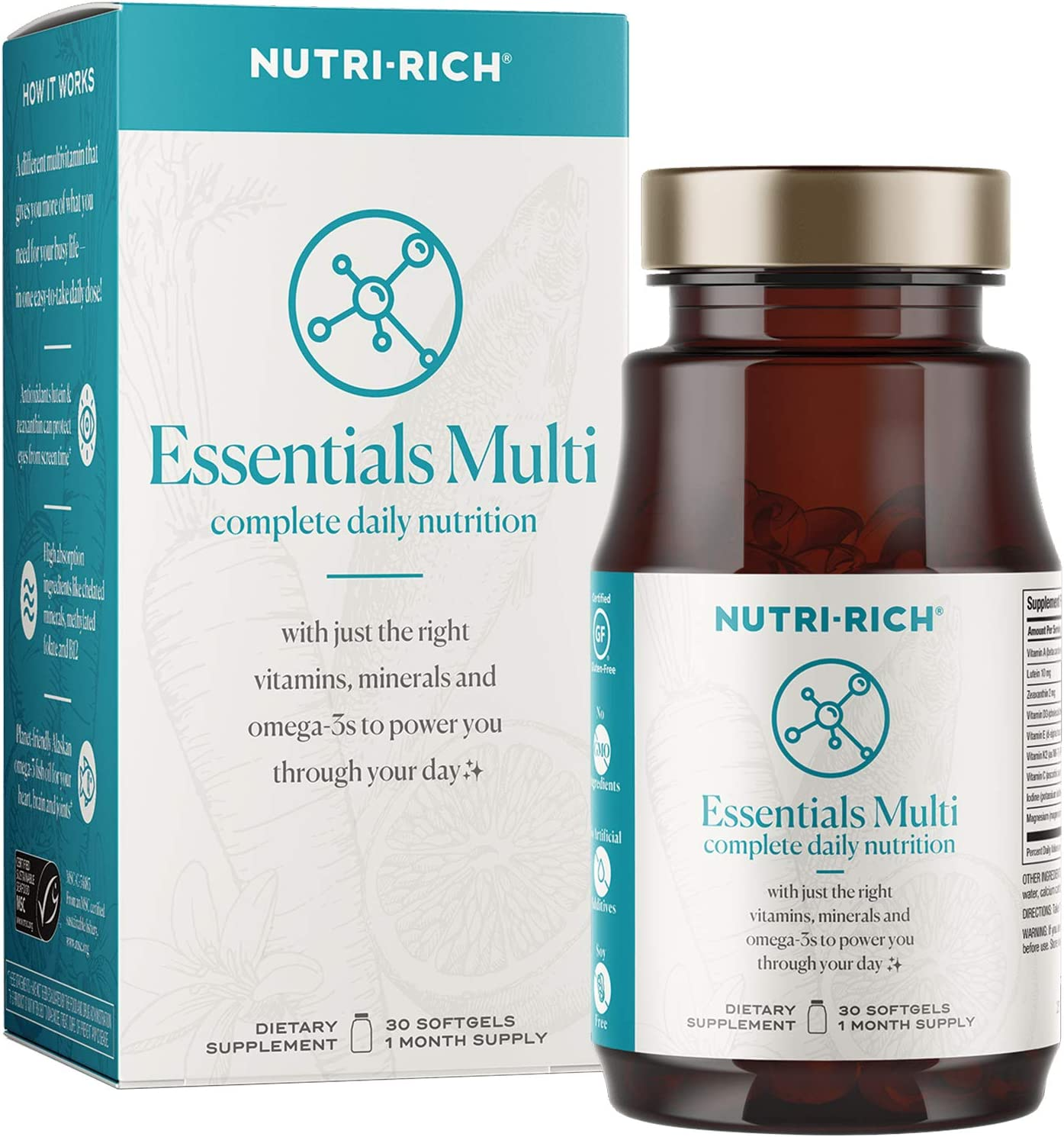 Essentials Multi for Women | Complete Daily Nutrition with Lutein for Screen Time, K2 for Bone Health, High Absorption Chelated Minerals and Sustainable Omega-3 (30 Count)