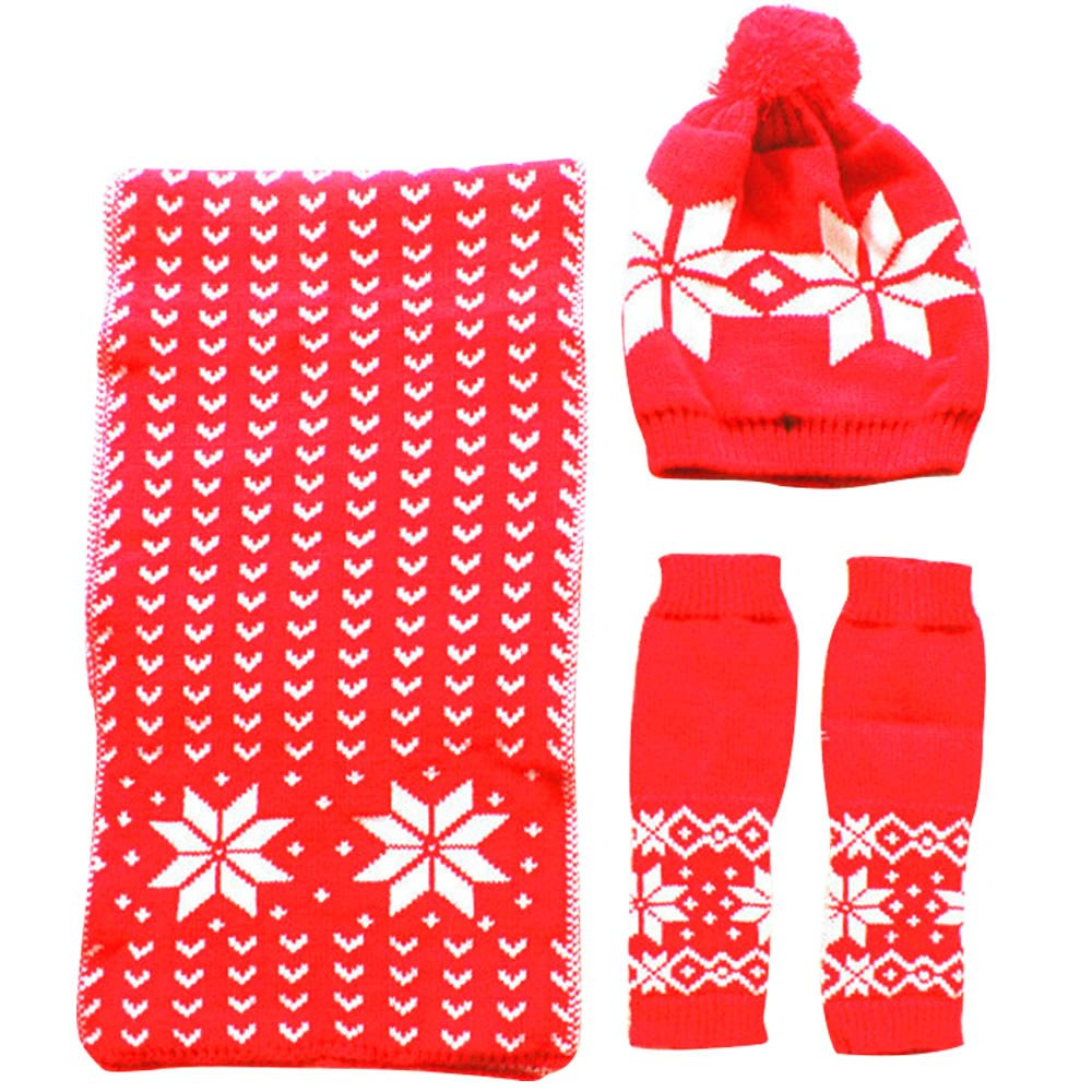beetest 3 Pcs Women Wool Yarn Winter Christmas Snowflake Hat Gloves Scarf Set of Suit Christmas New Year