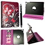 Kamal Star {TM} APPLE IPAD MINI IPAD MINI 2 IPAD MINI 3 PU LEATHER MAGNETIC FLIP STAND CASE COVER + SCREEN PROTECTOR + STYLUS (Ultra Butterfly Purple)