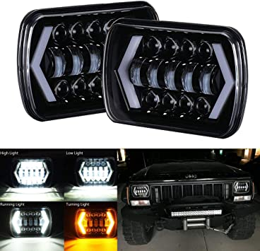 2pcs 5 x 7 Led Headlights for Trucks H6054 Rectangle Hi//Lo Headlights Chevy Sealed Beam H4 9003 Plug 6054 H5054 for Jeep Wrangler YJ XJ Cherokee Blazer Express Van 7x6 Led Headlights Dot Approved