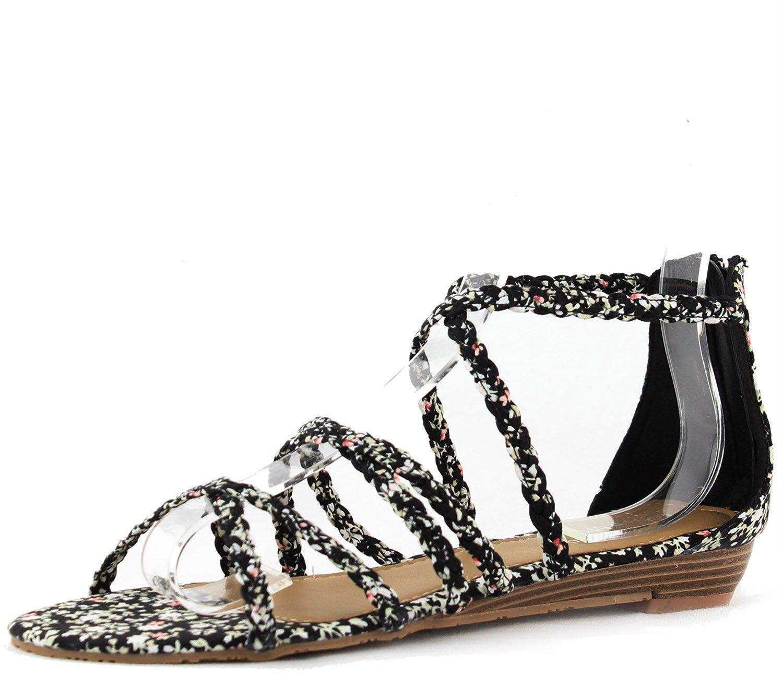 Top Moda Women's Grape-6 Black Color Floral Gladiator Flats Shoes, Black, 8.5