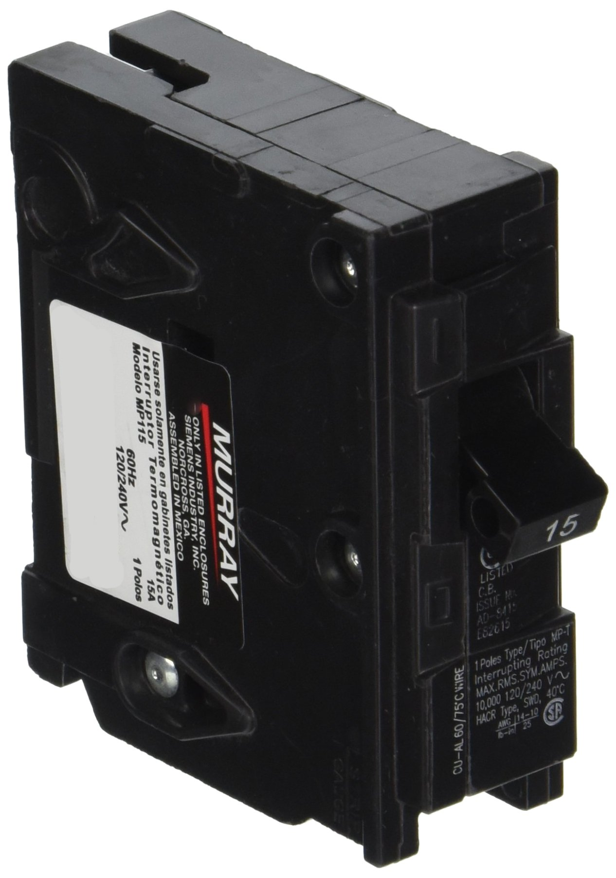 Best Rated In Miniature Circuit Breakers Helpful Customer Reviews Old Schneider Fuse Box Mp115 15 Amp Single Pole Type Mp T Breaker Product Image