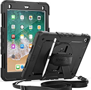 iPad 5th/6th Generation Case, SEYMAC Full Body Protection Case with Built-in Screen Protector Pencil Holder [360 Rotating Hand Strap]Stand Shoulder Strap for iPad 9.7 inch 2017/2018 /iPad air 2(Black)