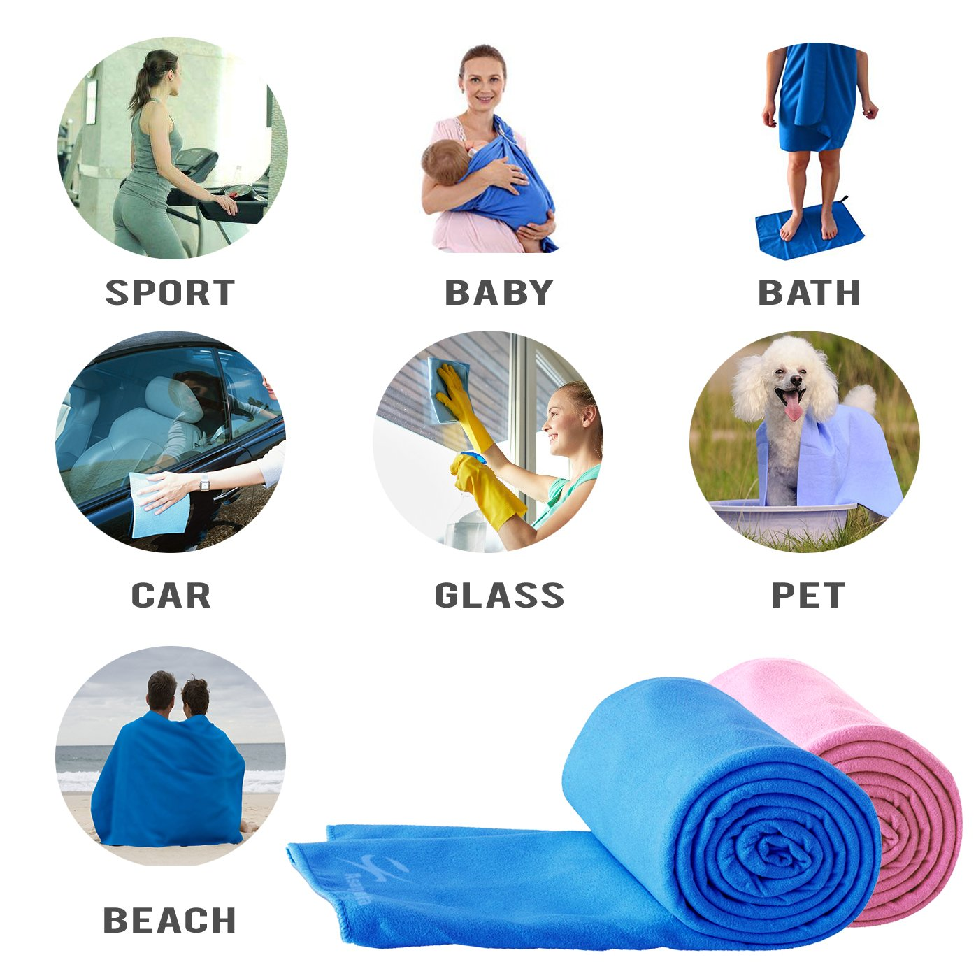 Premium Travel Towel | Microfiber Towel Perfect Sports,Travel Beach Towel Travel towel (blue)