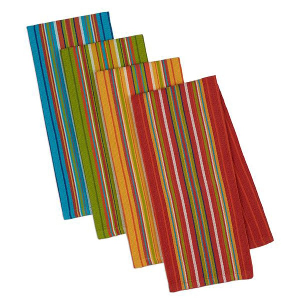 Design Imports Baja Cantina Cotton Southwest Table Linens, Dishtowel Gift Set 18-Inch by 28-Inch, Set of 4, Cantina Stripes