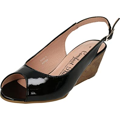 1a058a93333 Comfort Plus Wide Fit Slingback Wedge Heel Peep Toe Patent Shoes Black  Patent 3 UK