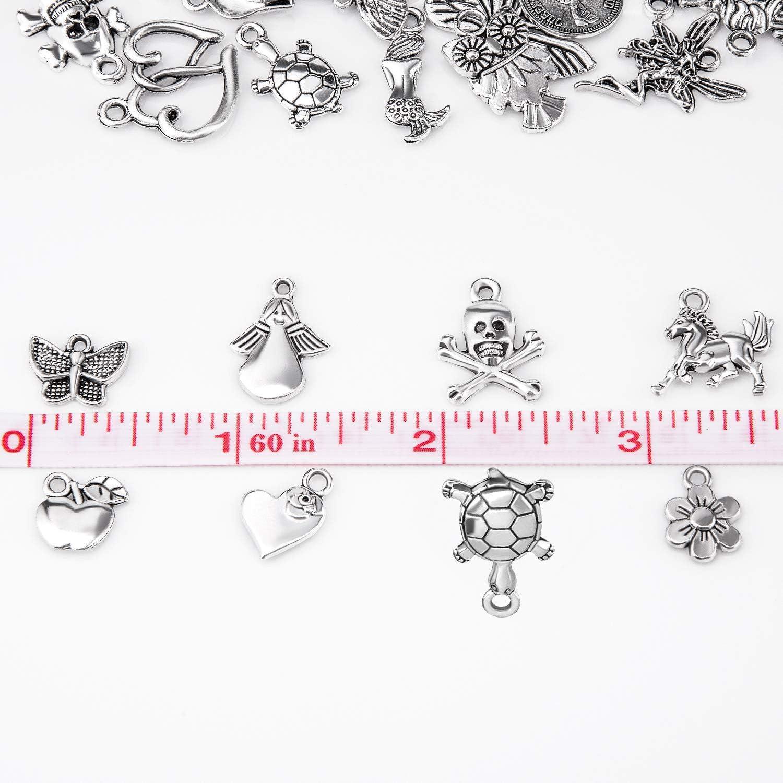 CAILI 100pcs pendentifs Breloques en Argent Antique pour la Fabrication de Bijoux Fourniture pour Collier Bracelet Dangle Fabrication de Bijoux et de lartisanat
