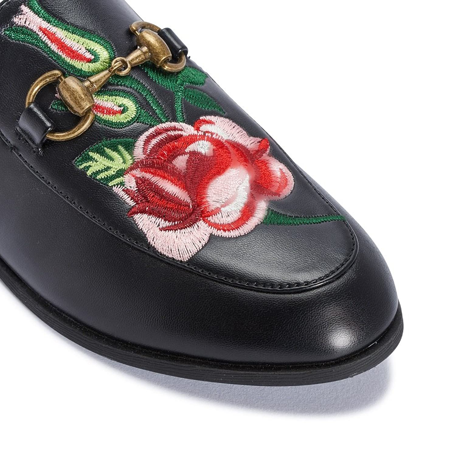 WOMENS BLACK EMBROIDERY ROSE PRINT LADIES FLOWER SLIDERS CASUAL MULES SHOES:  Amazon.co.uk: Shoes & Bags