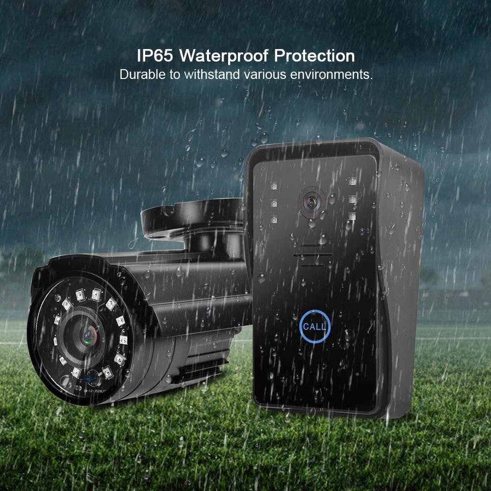 Timbre de Video inal/ámbrico de 7 Pulgadas 2.4G Videoportero con Dos c/ámaras de Seguridad CCTV C/ámara de Seguridad Timbre de Video Enchufe de la UE