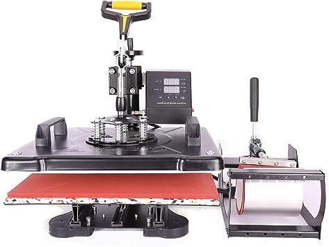 Z ZELUS 5 in 1 Hei/ßpresse Hitzepresse Heat Press Machine 38x38cm Transferpresse Tassenpresse Textilpresse Mulitifunktional Sublimation 360 Grad f/ür T-Shirts Becher Platten Kappe 38 x 38 cm