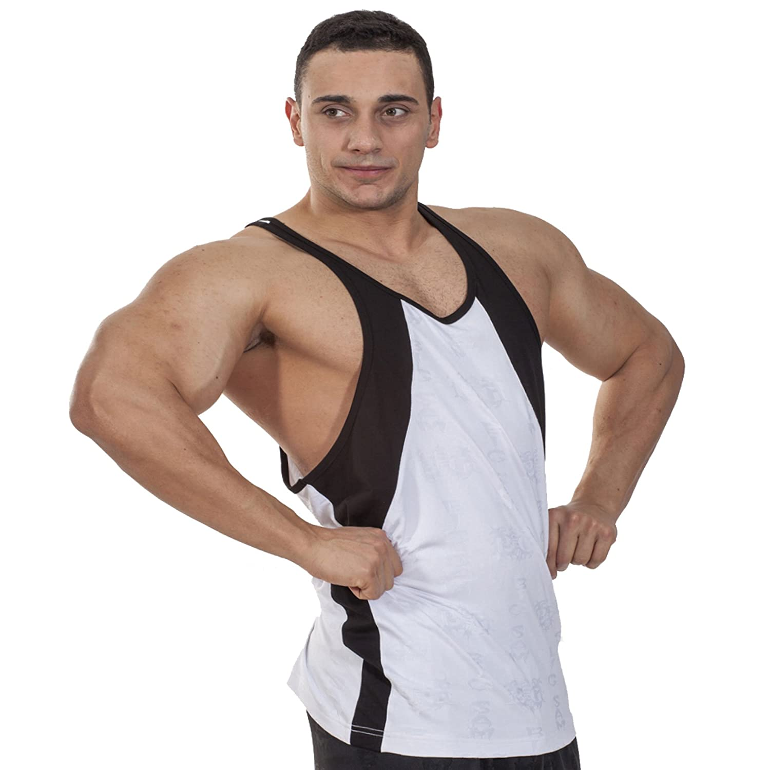 bde1418b264aaf BIG SAM SPORTSWEAR COMPANY Bodybuilding Men s Muscleshirt Tanktop T-Back  Tee Tank Stringer 2214 White at Amazon Men s Clothing store