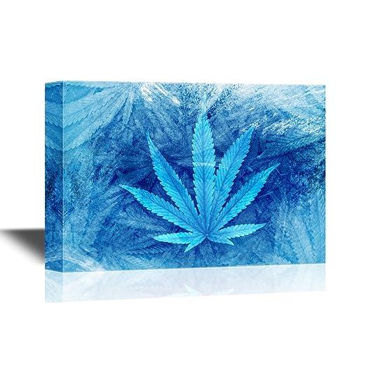 Canvas Wall Art - Big Marijuana Leaf Close Up with Texture Background of Cannabis