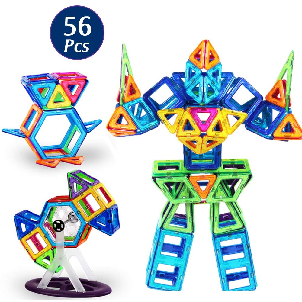KODH Puzzle Children's Educational Toys Free Combination of Various Changes Magnetic Sheet Combination Building Blocks Building Stack 56pcs Magnetic Adsorption Building Blocks Suit