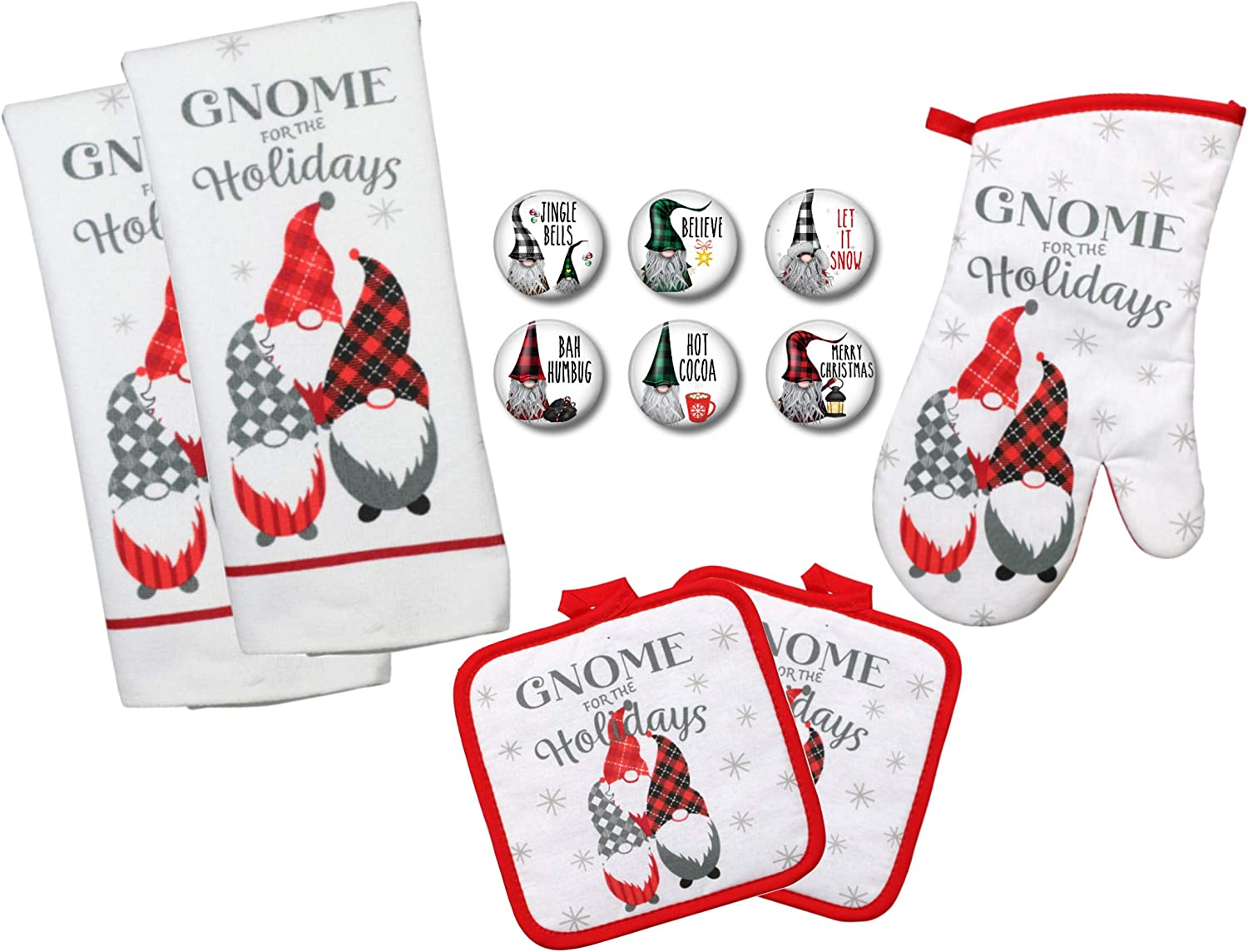 Farmhouse Daisy Designs Christmas Kitchen Decor Gnomes Towel Set with Pot Holders Oven Mitt and Set of 6 Refrigerator Magnets Set - (Gnome for The Holidays)