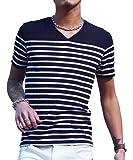 ジョーカーセレクト(JOKER Select) Tシャツ メンズ 半袖Tシャツ Vネック ボーダー ウィンドペン チェック カットソー