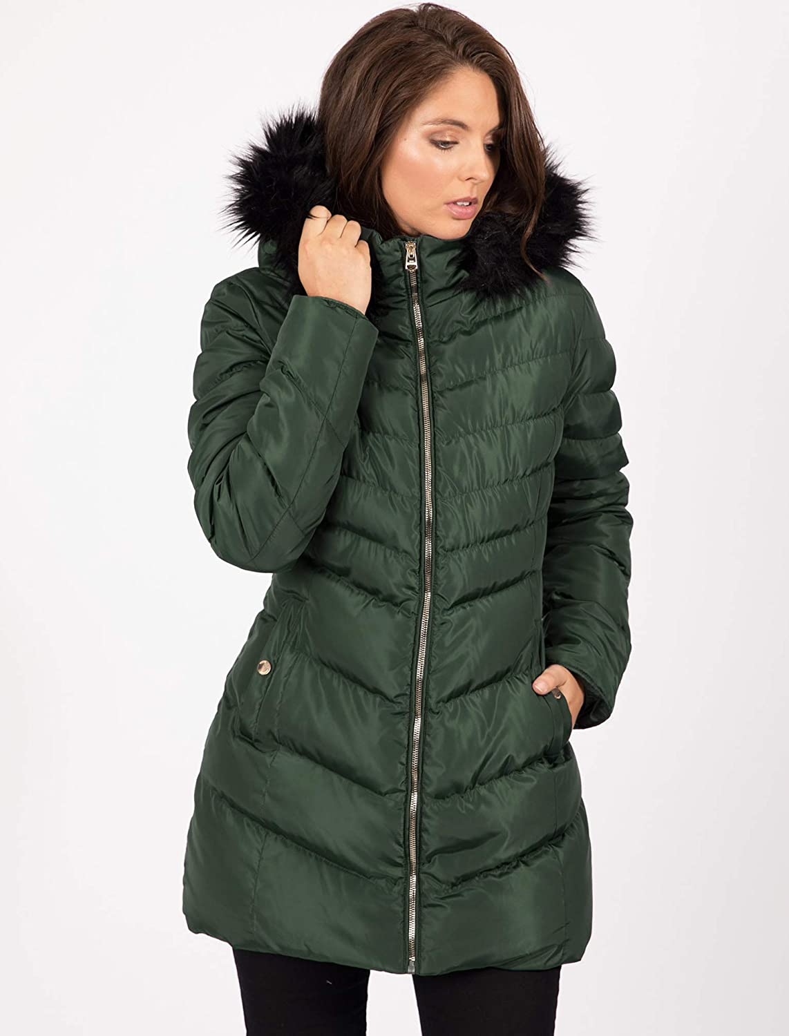 Tokyo Laundry Womens Lotus Longline Quilted Hooded Coat