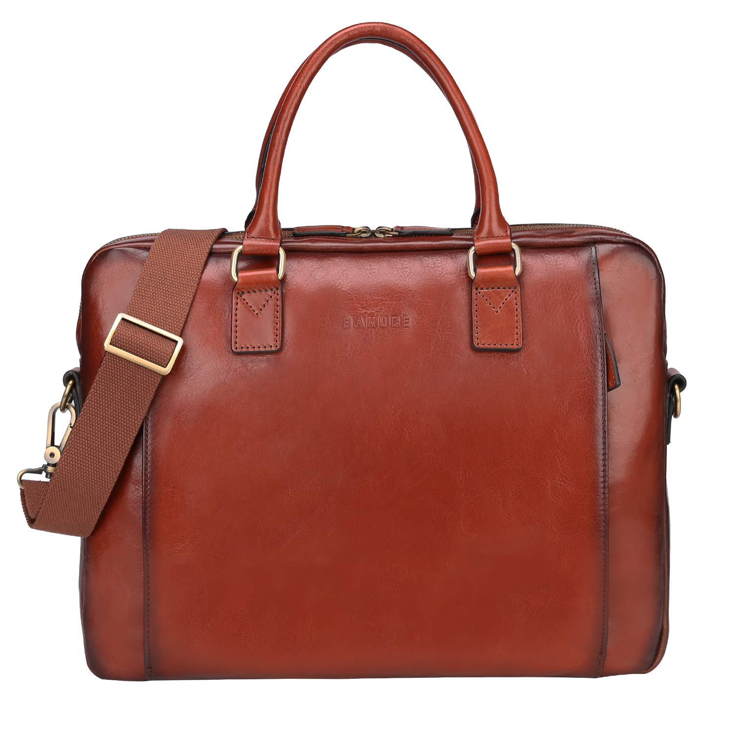 Banuce Vintage Full Grains Leather Briefcase for Women and Men Tote Satchel Purse Laptop Bag Brown