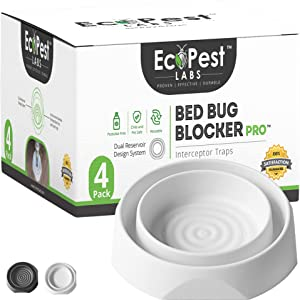 EcoPest Labs Bed Bug Blocker (Pro), Bed Bug Interceptor Traps, Monitors and Detectors - 4 Pack (White)
