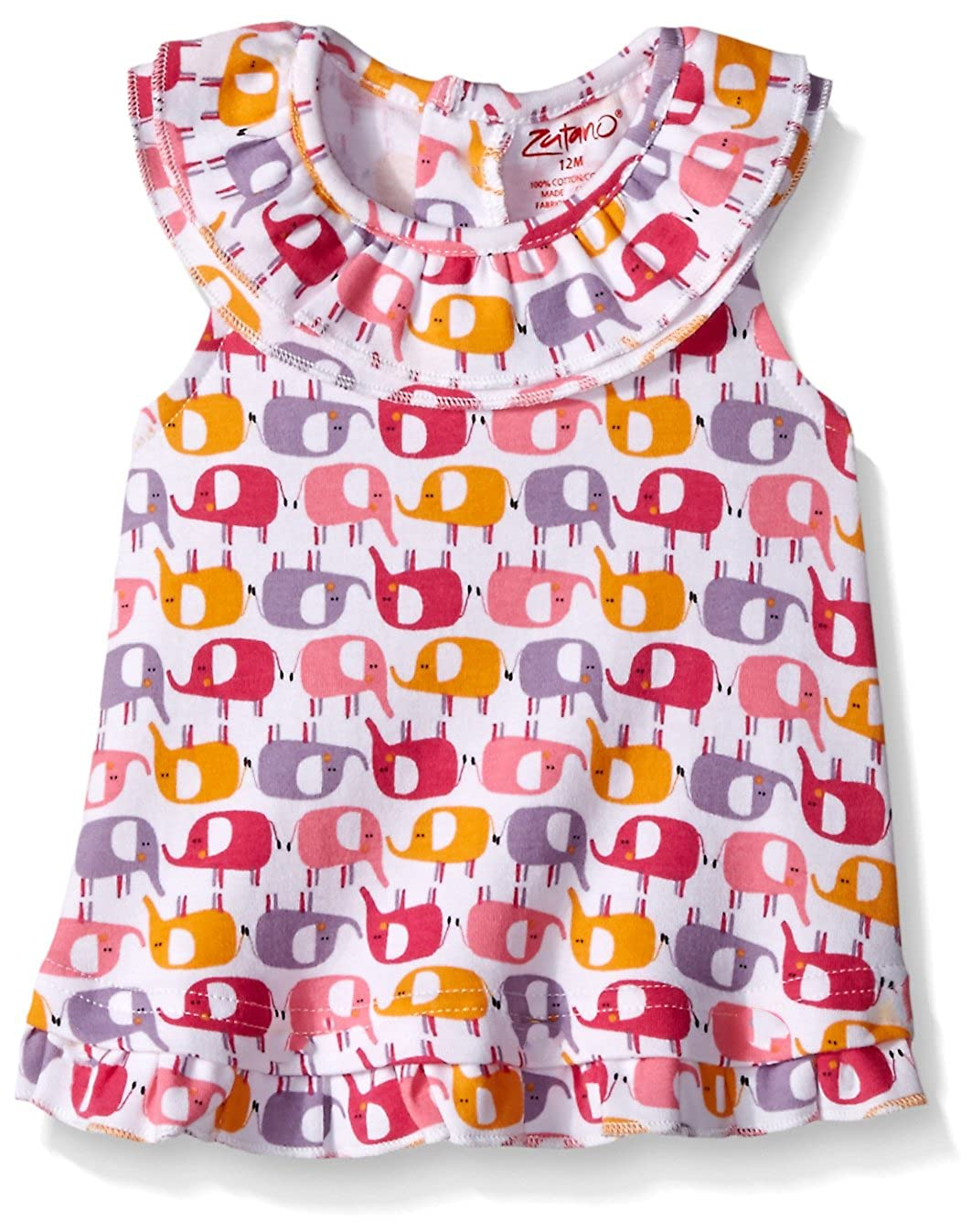 Zutano Baby Girls Ellas Elephants Ruffle Sunshine Top
