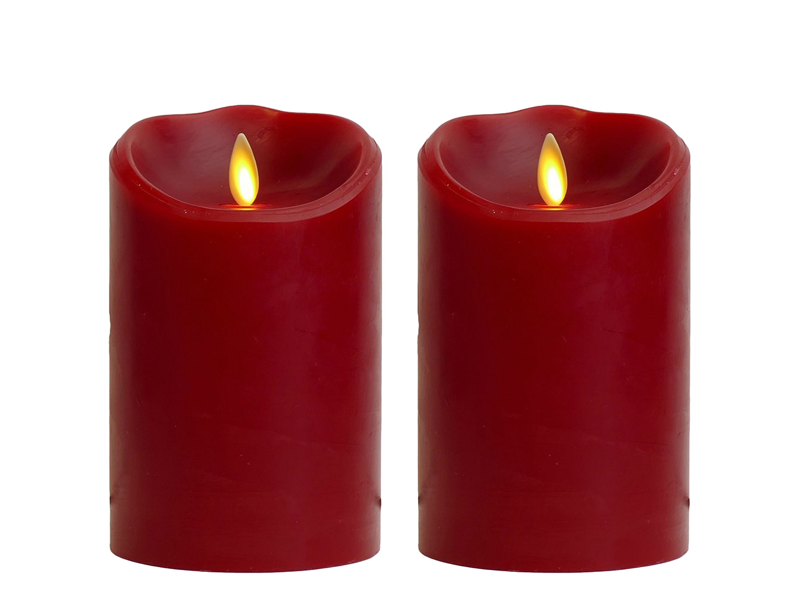 Set of 2 Luminara 5 in. Red Flameless Candle Cinnamon Scented with Timer Bundled by Maven Gifts by DE