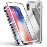 ZHIKE Custodia per iPhone X/XS, Custodia ad Assorbimento Magnetico Montatura in Metallo Ultra Sottile Vetro temperato con Cover Magnetica Integrata per Apple iPhone 10/X/XS (Bianco Trasparente)