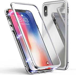 iPhone Xs Max Case, ZHIKE Magnetic Adsorption Case Front and Back Tempered Glass Full Screen Coverage One-Piece Design Flip Cover [Support Wireless Charging] for Apple iPhone Xs Max (Golden)